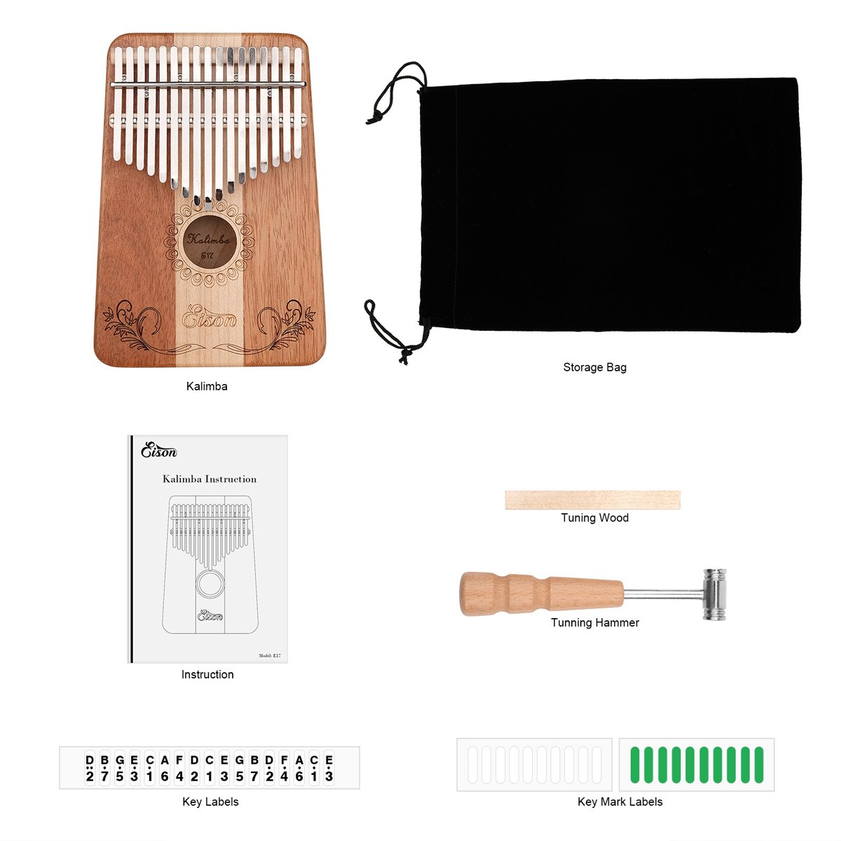 Kalimba,Eison Kalimba Thumb Piano Finger Piano 17 keys with Key Locking System with Instruction and Tune Hammer, Solid Wood Mahogany & Maple Body- Best Gift for Music Fans Kids Adults,E-17 by Eison (Image #6)