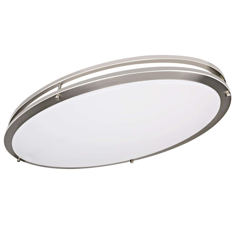 Hykolity 32 Inch Oval LED Ceiling Light, 35W [300W Equivalent] 3100Lm 4000K BN Finish Dimmable Saturn Flushmount Ceiling Light for Bedroom, Restroom, Walk in Closet, Washroom, Living Room