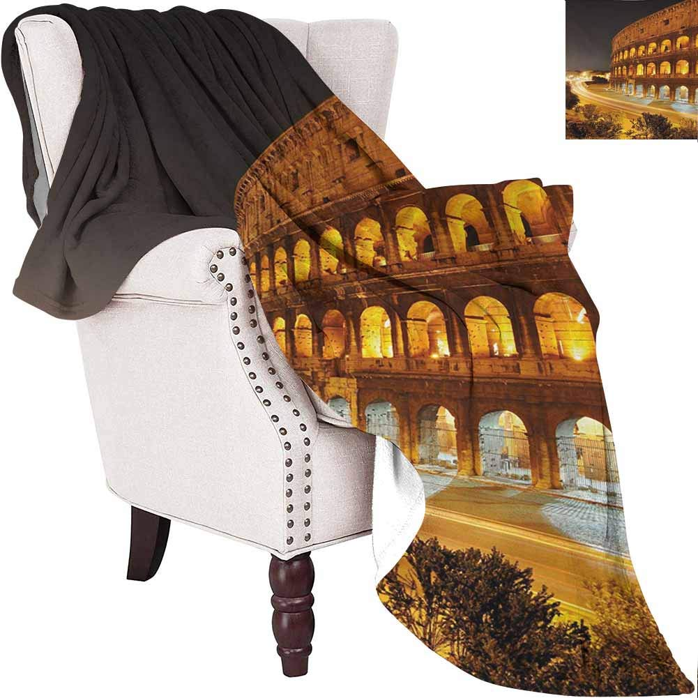 MKOK Italy Luxury Special Grade Blanket Colosseum at Night Scenery Rome European City Heritage Monument Landscape Multi-Purpose use for Sofas etc. W70 x L84 Inch Amber Marigold Black