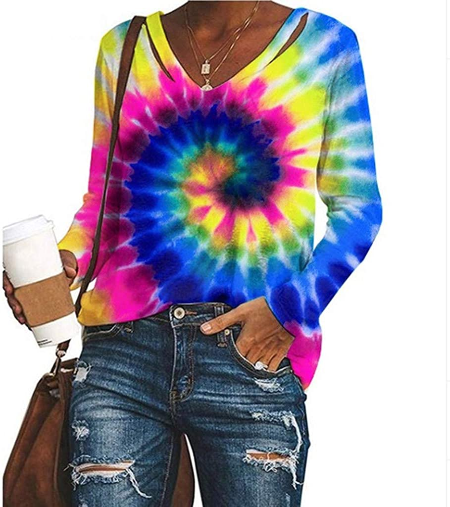 F/_topbu Sweatshirts for Women Long Sleeve Turn-Down Collar Tops Casual Floral Printed Pullover Loose Plus Size Blouse Navy