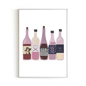 "Urban Willow Art Print - Minimalist Decor, Wine Kitchen Home Bar Decor, Apartment Pink Room Decor, Alcohol Print for College Dorm, Bar Decorations, Dorm Wall Decor for College Girls, 12"" x 16"" (Wines)"