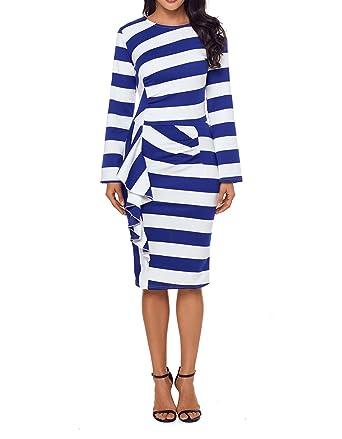 a48493d63 FIYOTE Women Back Slit Striped Ruffle Long Sleeve Bodycon Midi Dress ...