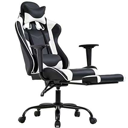 Wondrous Pc Gaming Chair Ergonomic Office Chair Desk Chair Pu Leather Racing Executive Modern Swivel Rolling High Back Computer Chair With Arms Footrest Lumbar Cjindustries Chair Design For Home Cjindustriesco