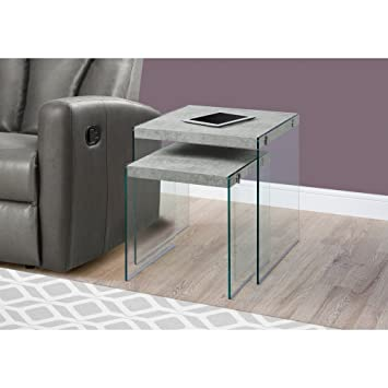 Monarch Specialties Nesting Table   2Pcs Set / Grey Cement / Tempered Glass