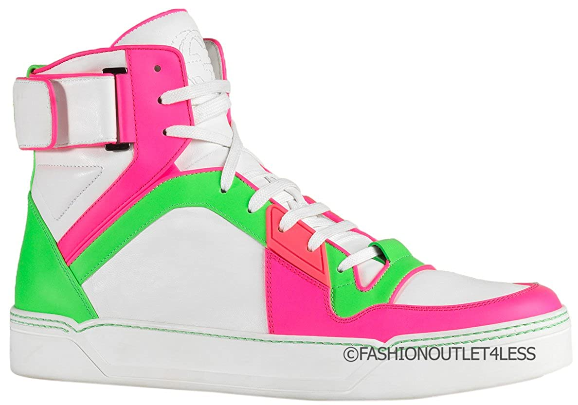 Neon Leather High Top Sneakers Shoes
