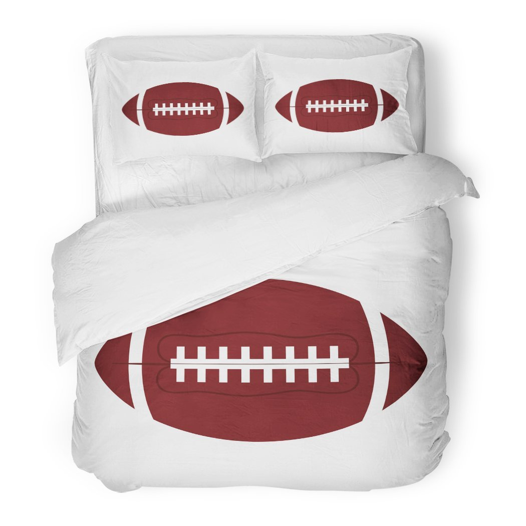 SanChic Duvet Cover Set Flat Ball American Football Oval Gridiron Activity College Competition Decorative Bedding Set 2 Pillow Shams King Size