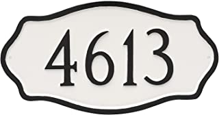 "product image for Montague Metal 8"" x 15.25"" Hampton Address Plaque, Standard, Brick Red/Silver"