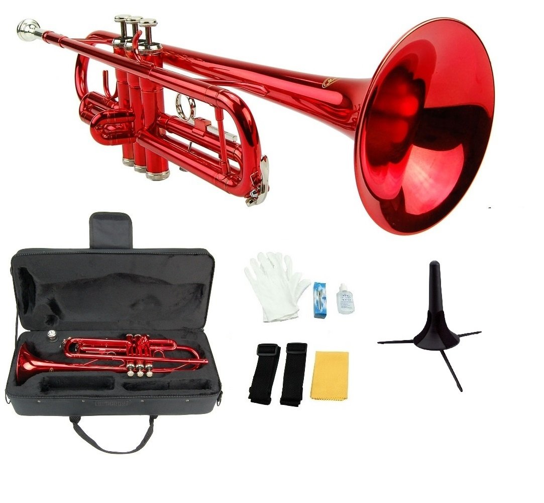 Crystalcello CWD415 B Flat Lacquer plated Trumpet with Carrying Case - Red