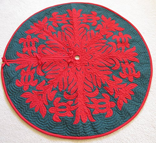 Hawaiian Quilt 100% Hand Quilted and 100% Hand Appliquéd Christmas Tree Skirt 42