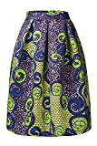 Annflat Women's African Print Knee Length Flare Skirts with Pockets X-Large Multi