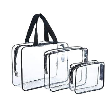 5e26326b8 JZK 3 pcs Bolso Transparente de PVC Impermeable Set de Viaje Neceser Llevar  Bolsa Bolsa de Maquillaje Neceser Organizador para Vacaciones, ...