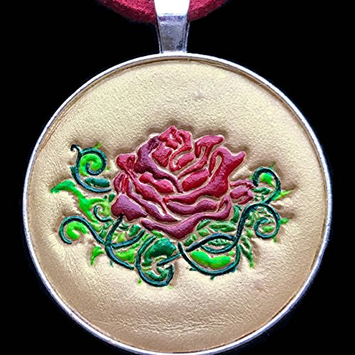 Gold Rose Hand-Painted Tooled Veg Tanned Leather Pendant Necklace - Irish Dancing Costumes Uk