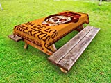 Lunarable Skull Outdoor Tablecloth, Frame with Mexican Skull Girl Hairstyle Carnival Smile Ornate Party Dance, Decorative Washable Picnic Table Cloth, 58 X 84 inches, Maroon Dark Orange