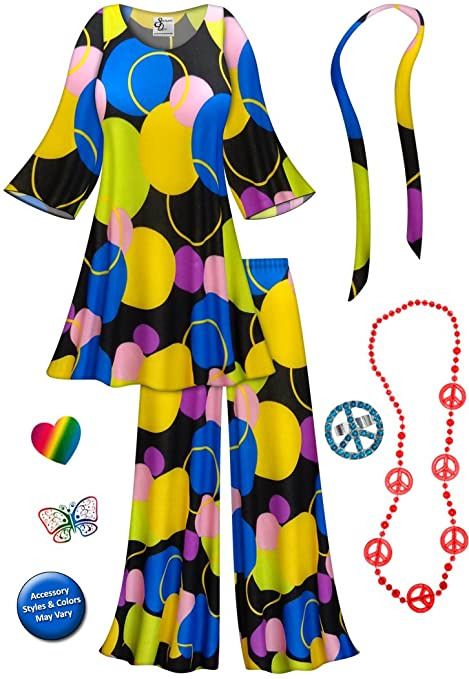 60s Costumes: Hippie, Go Go Dancer, Flower Child Sanctuarie Designs Double Bubble-Blue 2PC Plus Size Hippie Set Halloween Costume $109.79 AT vintagedancer.com