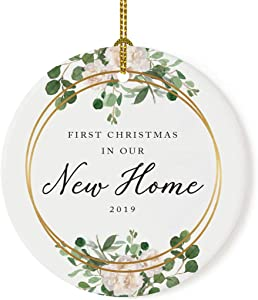 Andaz Press Custom Year Round Ceramic Porcelain Christmas Tree Ornament Keepsake Collectible Gift, First Christmas in Our New Home 2019, Woodland Wreath Deer, 1-Pack, Housewarming Gift Ideas