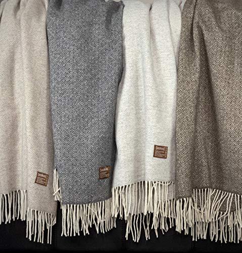 Eikei Wool Throw Blanket Geo Diamond Pattern Oversized Couch Throw Blanket Fringe Trim Soft Merino Woolen Afghan Minimalist Style Lightweight Machine Washable (Beige, 55Wx78L) (Throw Wool Blankets)