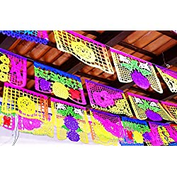 Mexican Papel Picado, Cinco de Mayo Party Decorations, Papel Picado Banners, 78 ft Long, Multicolored tissue PAPER garland, Mexican Decorations, Weddings, Quinceaneras, Birthdays.