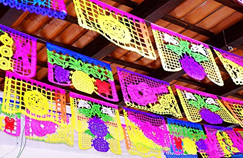 Mexican Papel Picado, Cinco de Mayo Party Decorations, Papel Picado Banners, 78 ft Long, Multicolored tissue PAPER garland, Mexican Decorations, Weddings, Quinceaneras, Birthdays. by MexFabricSupplies