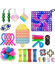 Big Fidget Toys Pack, Sensory Fidget Toy Set Premium and Durable Pop Bubble Stress Relief Toys with Marble Mesh Pop Anxiety Tubes for Kids Adults,The Best Most Interesting Children's Gifts