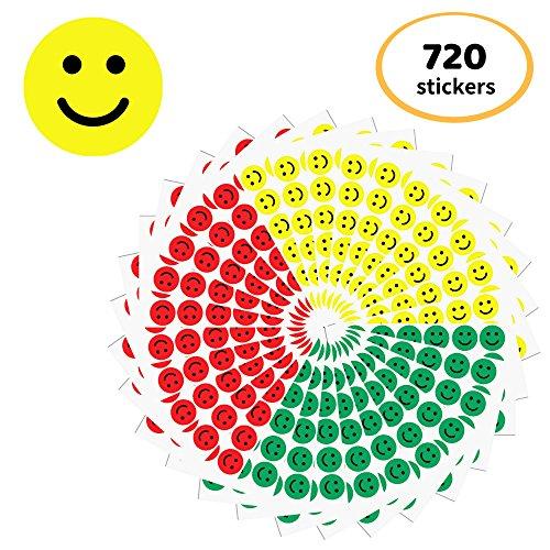 2,5 cm Smiley Autocollant (Rouge, jaune, vert) - 3 couleurs, Paquet de 720