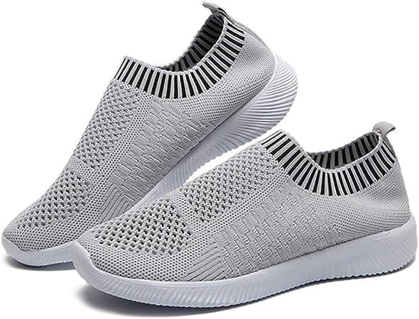 LuMon Mujer Ligero Zapatos para Caminar, Atlético Correr Zapatillas Transpirable Malla sin Cordones Zapatillas, Mujer Zapatillas Running para Caminar Correr Senderismo - Gris, 37: Amazon.es: Hogar