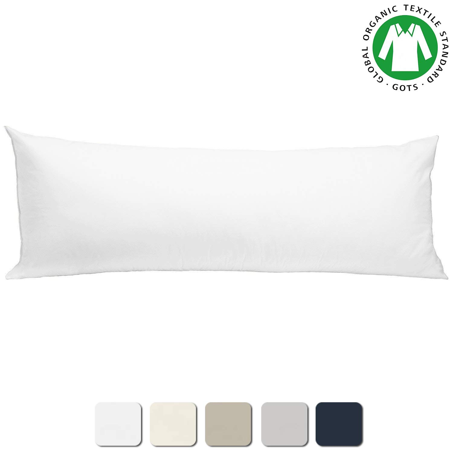 "BIOWEAVES 100% Organic Cotton Body Pillow Cover for Body Pillowcases 300 Thread Count Soft Sateen Weave GOTS Certified with Zipped Closure - 21"" x 54"", White"