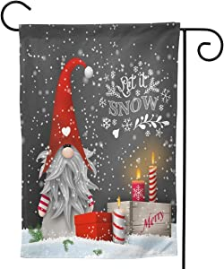 BJHAP Christmas Garden Flag 12 x 18 Inch, Merry Christmas Gnomes House Flag Double Sided Outdoor Yard Decorative Flag Winter Patio Lawn Flag