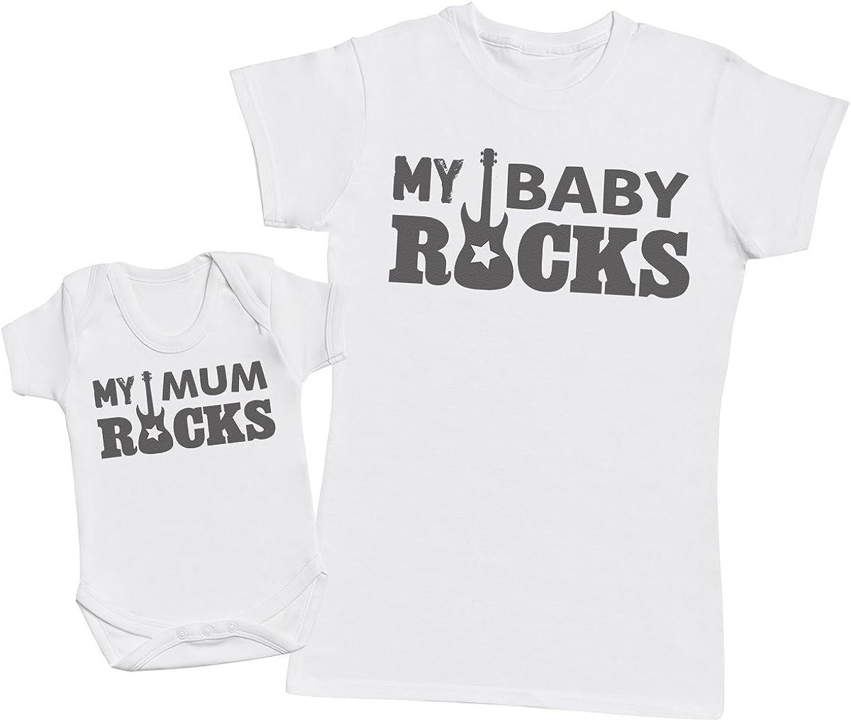 My Baby Rocks! - regalo para madres y bebés en un body para bebés y una camiseta de mujer a juego