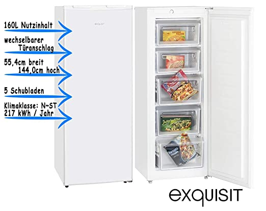 Exquisit GS 235-1 A+ Independiente Vertical 160L A+ Blanco ...