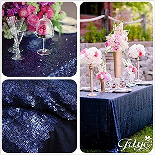 TRLYC 60 x 120-Inch Rectangular Sequin Tablecloth Navy for $<!--$24.91-->