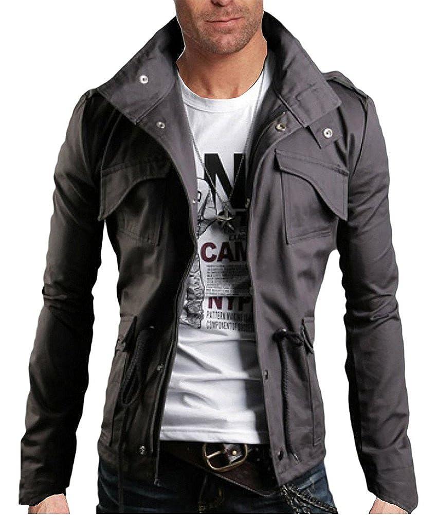 Minetom Printemps Automne Homme D/écontract/é Manteau De Veste Mode De Surv/êtement Zip Jacket Slim Fit Coat