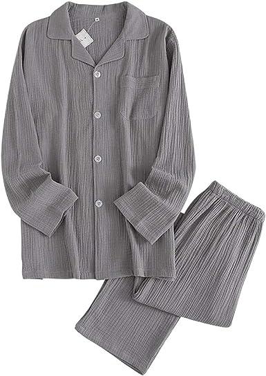 Lachi Conjunto de pijama para hombre, de algodón, manga larga, con pantalones largos, ropa de dormir suave y transpirable