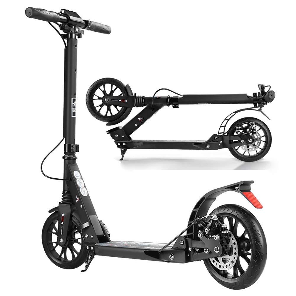 キックスクーター 大人のスクーター、10代の女性のための折り畳み式の調節可能な高さ2ホイールキックスクーター、100 kgの重量をサポート