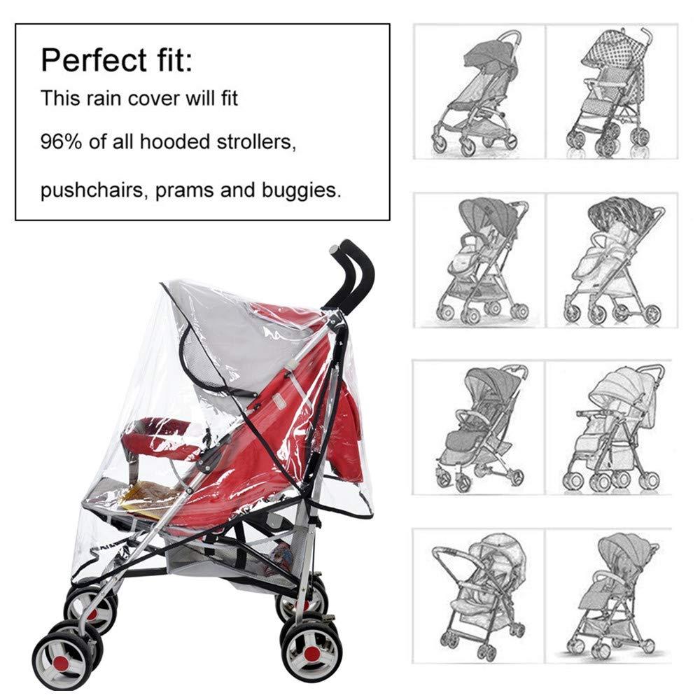 Baby Stroller Rain Cover Universal Pram Raincover Pushchair Buggy Rain Cover Waterproof Rainproof Dustproof Windproof for Baby Stroller Travel Outdoor