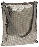 Whiting and Davis Soft Flat Mesh Hobo,Pewter,one size, Bags Central