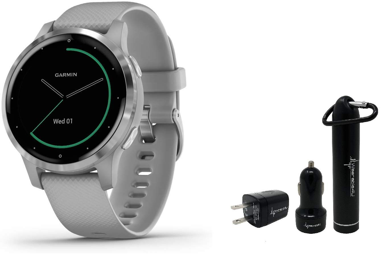 Garmin Vivoactive 4S GPS Smartwatch and Wearable4U Power Pack Bundle (Powder Gray/Silver)