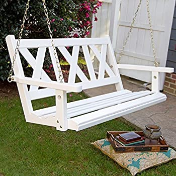 made haven white porch swing with cushion chain wood stand