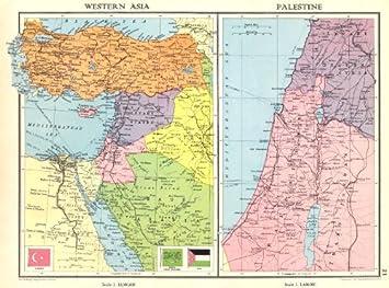 Karte Naher Osten Israel.Nahen Osten Turkei Transjordan Palastina Israel Syrien