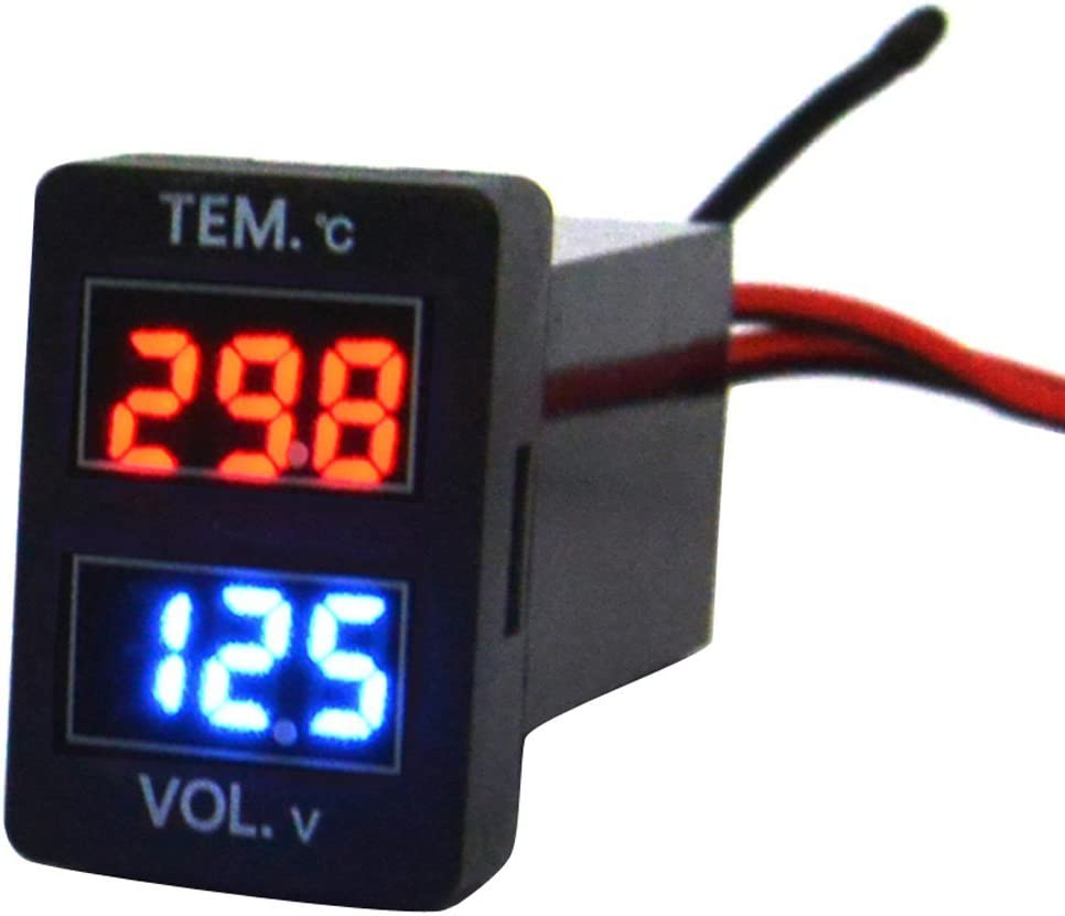 Cllena Digital Voltmeter Temperature Gauge 2 in 1 LED Voltage Temp Display Meter for Toyota 1.290.88inch