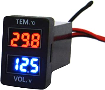 High Accuracy Digital Temperature Gauge Tester with 2 Waterproof NTC Temperature Sensor Probe DROK 100℃ Digital Thermometer 20 to DC 4-28V Indoor Outdoor Thermometer with Dual LED Display