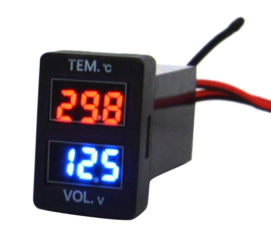 Cllena Toyota Digital Voltmeter Temperature Gauge 2 in 1 Voltage Temp Meter Red Blue LED Dual Display 1.290.88inch