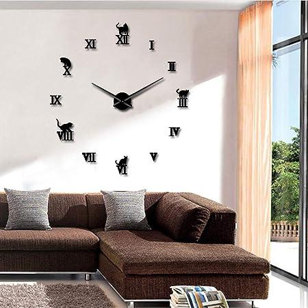Knncch 27 Pulgadas Gato Negro Gran DIY Reloj De Pared Relojes De Pared 3D Animal Gatito Espejo Relojes De Pared Números Romanos Relojes De Pared Grandes Reloj Pegatina Pared: Amazon.es: Hogar