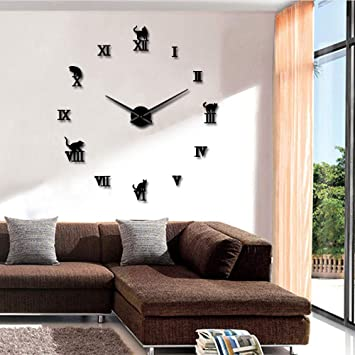 Knncch 27 Pulgadas Gato Negro Gran DIY Reloj De Pared Relojes De Pared 3D Animal Gatito Espejo Relojes De Pared Números Romanos Relojes De Pared Grandes ...
