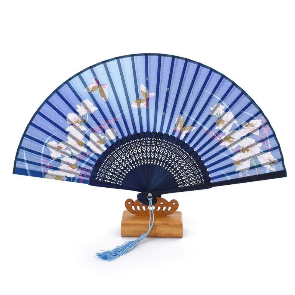 Blanc Poudre Happy Timer Ventilateur Pliant /à la Main Fans Ventilateurs pliants /à la Main pour Femmes Enfants