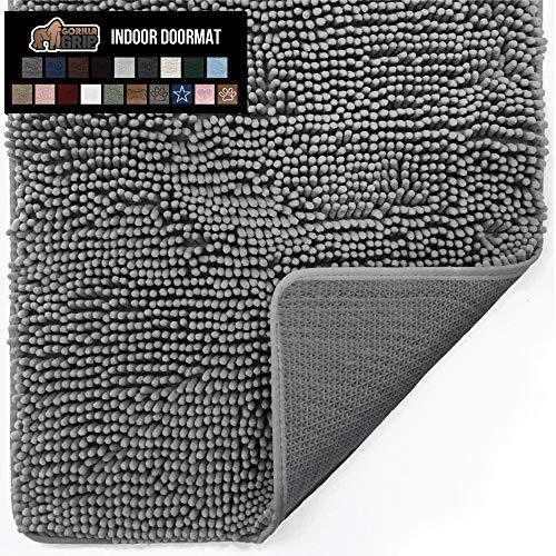 Gorilla Grip Original Indoor Durable Chenille Doormat, 30x20, Absorbent, Machine Washable Inside Mats, Low-Profile Rug Doormats for Entry, Mud Room, Back Door, High Traffic Areas, Grey