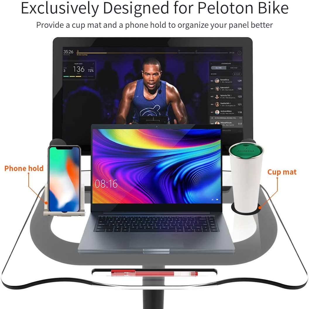 Clear Acrylic Peloton Accessories with Cup Mat Naisi Organizer Table Panel for Peloton Bike