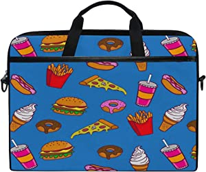 ALAZA Hand Drawn Fast Food Blue Pattern 15 inch Laptop Case Shoulder Bag Crossbody Briefcase for Women Men Girls Boys with Shoulder Strap Handle, Back to School Gifts