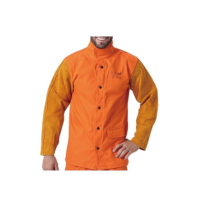 AP-2630 Fire Retardant Cotton Welding Jacket w// Cowhide Leather sleeves XL XXL