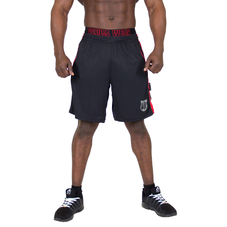 Black//Red Bodybuilding Fitness Gorilla Wear Shelby Shorts