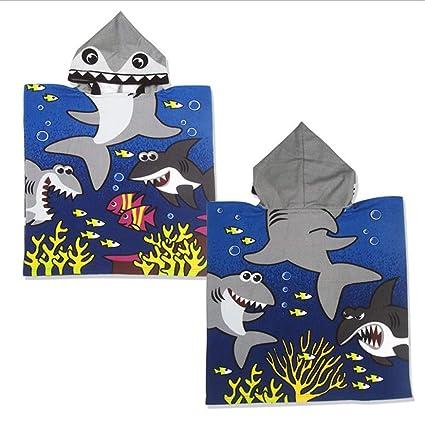 Albornoz Para Niños Diseño fresco del tiburón Niños Con capucha Albornoz Bebé Suave Toalla de baño